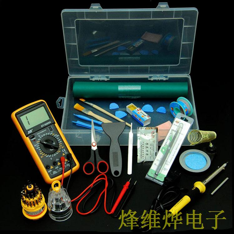 Electric iron multimeter component box rosin solder wire screwdriver Taiwan pad tweezers scissors electric iron ladomir 64k