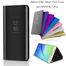 OPPOR17 Pro Smart Flip Stand Mirror Case For OPPO R17 R17Pro Clear View PU Leather Cover