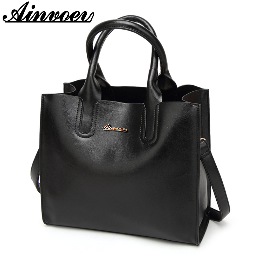 Ainvoev Genuine Leather Women Tote Bags Famous Brand Women Handbags Luxury Feminina Shoulder Messenger Bag Quality cow bag a1837 women shoulder bags leather handbags shell crossbody bag brand design small single messenger bolsa tote sweet fashion style