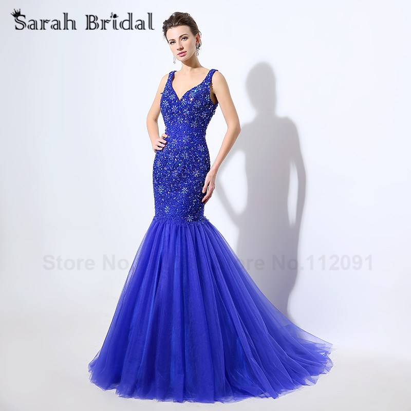 Sexy V-neck Spaghetti Strap Evening Dresses Mermaid Royal Blue Beading Lace Formal Prom Gowns Hollow vestidos de noche LX049