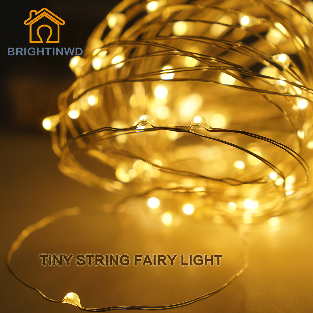 Brightinwd светодиодная гирлянда Рождество indoor огни строки 10 м 33ft 100 светодиоды Медный провод Батарея Powered сказочных огней украшения дома