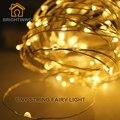 Brightinwd guirlanda de natal levou ao ar livre luzes da corda 10 m 33ft 100 leds bateria powered luzes de fadas de fio de cobre decoração de casa