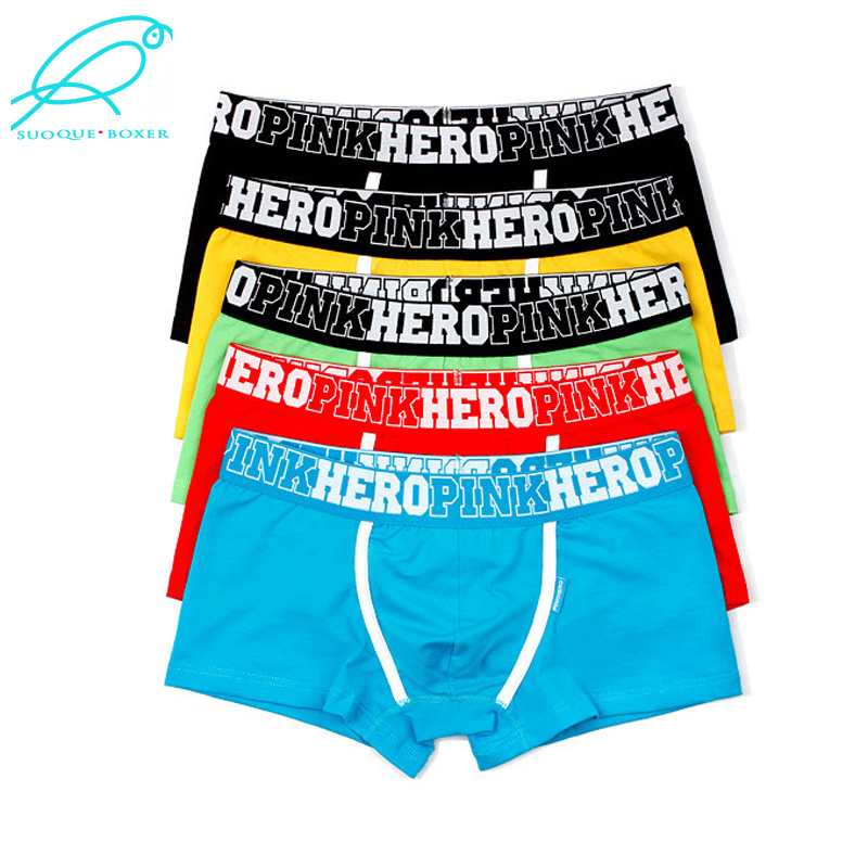 5Pcs Pack/Lot Men's Boxer Pink Hero Cotton Underwear Pure Color Fashion Boxershort Sexy Shorts Man Plus Size Pouch Wholesale 14-in Boxers from Underwear & Sleepwears on AliExpress