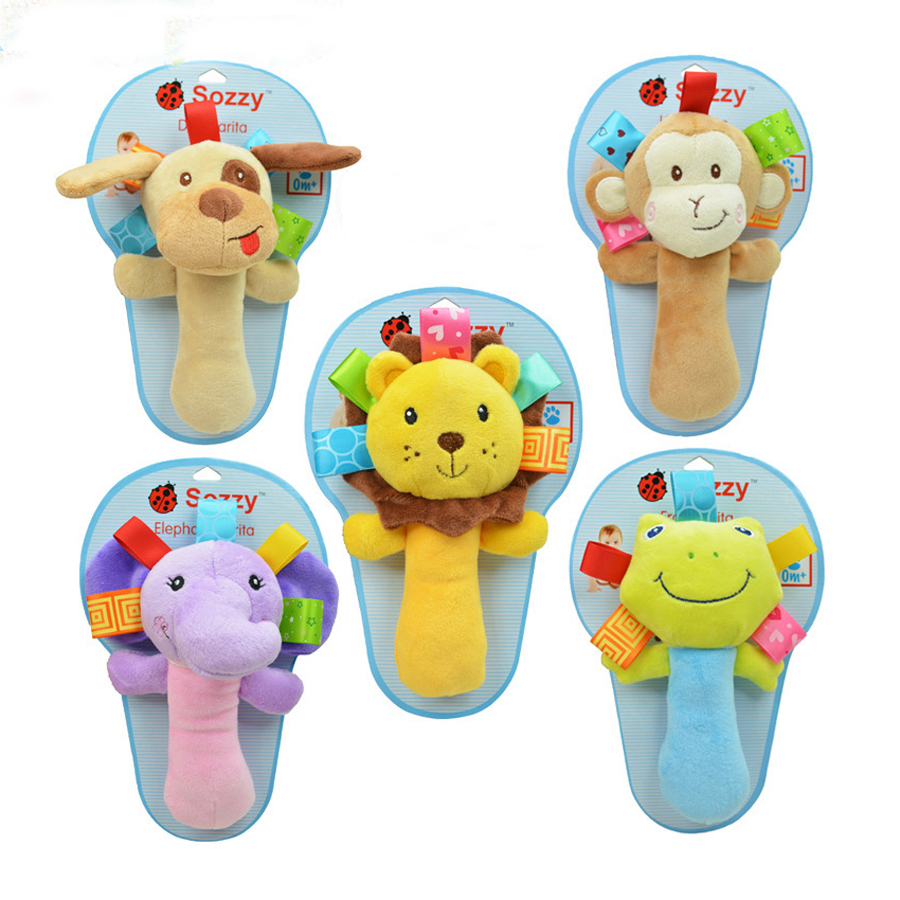 New Infant Toys Baby Multifunctional Hand Bell With Rattle Tinkle Animals Doll Oyuncak 0-12 Months Brinquedos WJ101-WJ106