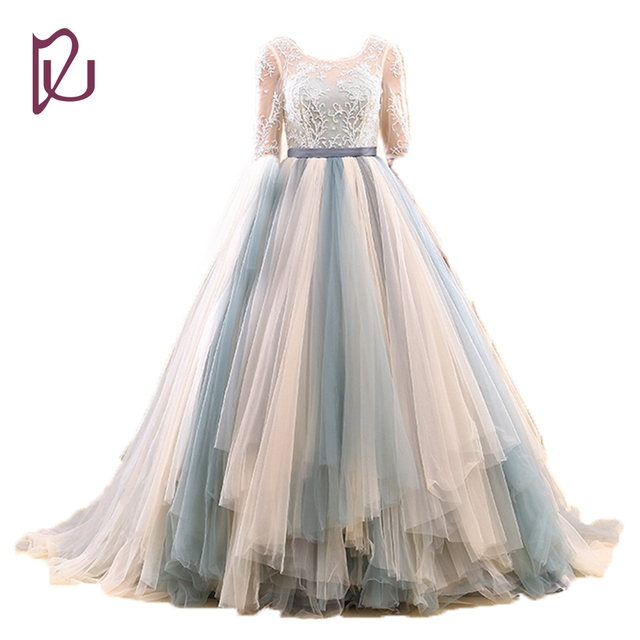 Half Sleeve Elegant Gradient Color Backless Lace Real Image 100% By Factory  Dresses Wedding Dresses Bridal Gowns 2017 3223d7ce01a3