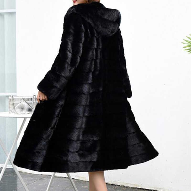Chaqueta larga de lujo personalizada de talla grande a precio Real de fábrica de piel auténtica de conejo chaqueta de piel de mujer nuevo invierno sr587