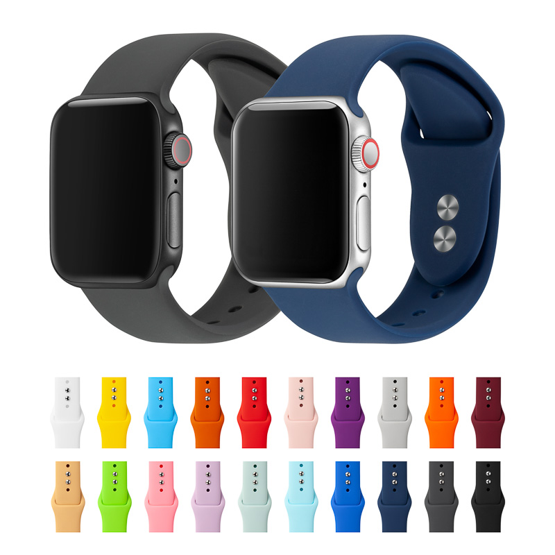 Strap For Apple Watch Band 38mm 40mm 42mm 44mm Double Rubber Buckle Silicone IWatch Strap  For Apple Watch Series 4,3,2,1 81024
