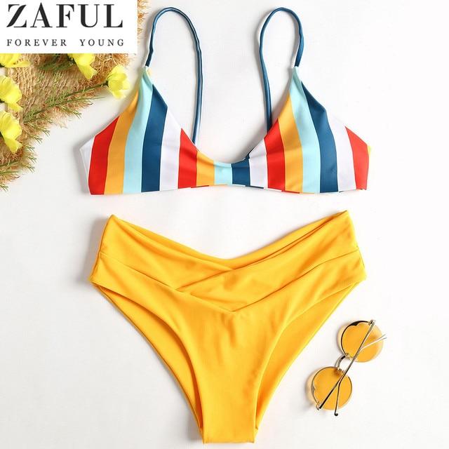 7740372ff2dc5 ZAFUL Striped High Cut Bikini Set Colorful Lovely Girl Swimwear Women  Swimsuit Bandage Backless Bathing Suit