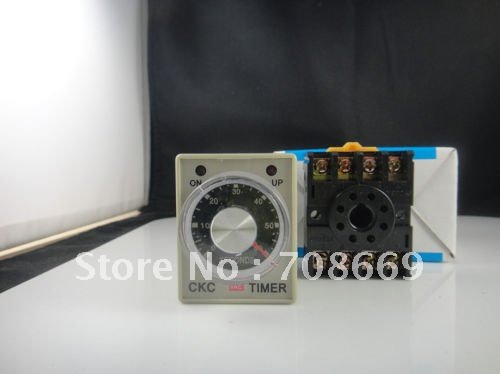 AC 110V Delay Timer Time Relay 0~5 second  AH3-3 & Base