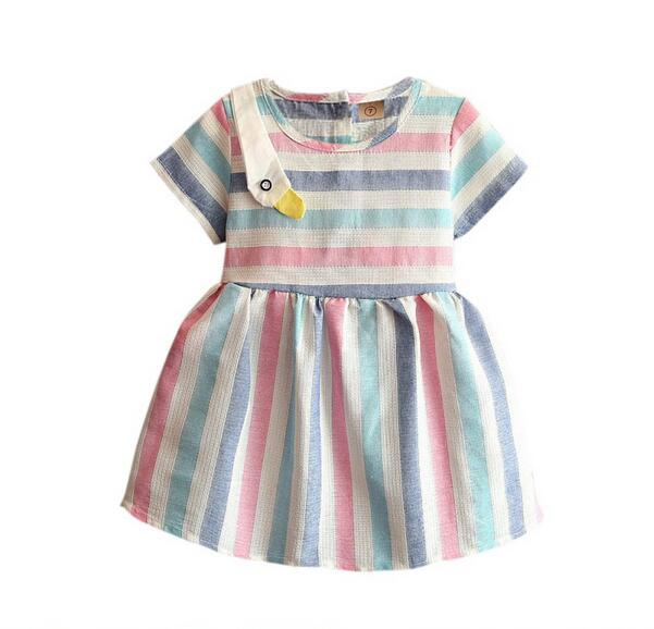2017 Baby Girls Clothes Summer Color Striped Korean Swan Dresses, Children Fashion Clothing 5 pcs/lot, Retail&Wholesale