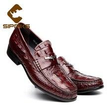 Sipriks мужские слипоны кожаные туфли для мужчин повседневная обувь черного цвета элегантные мужские мокасины бордовые тапочки мужские лоферы Европейский Новый