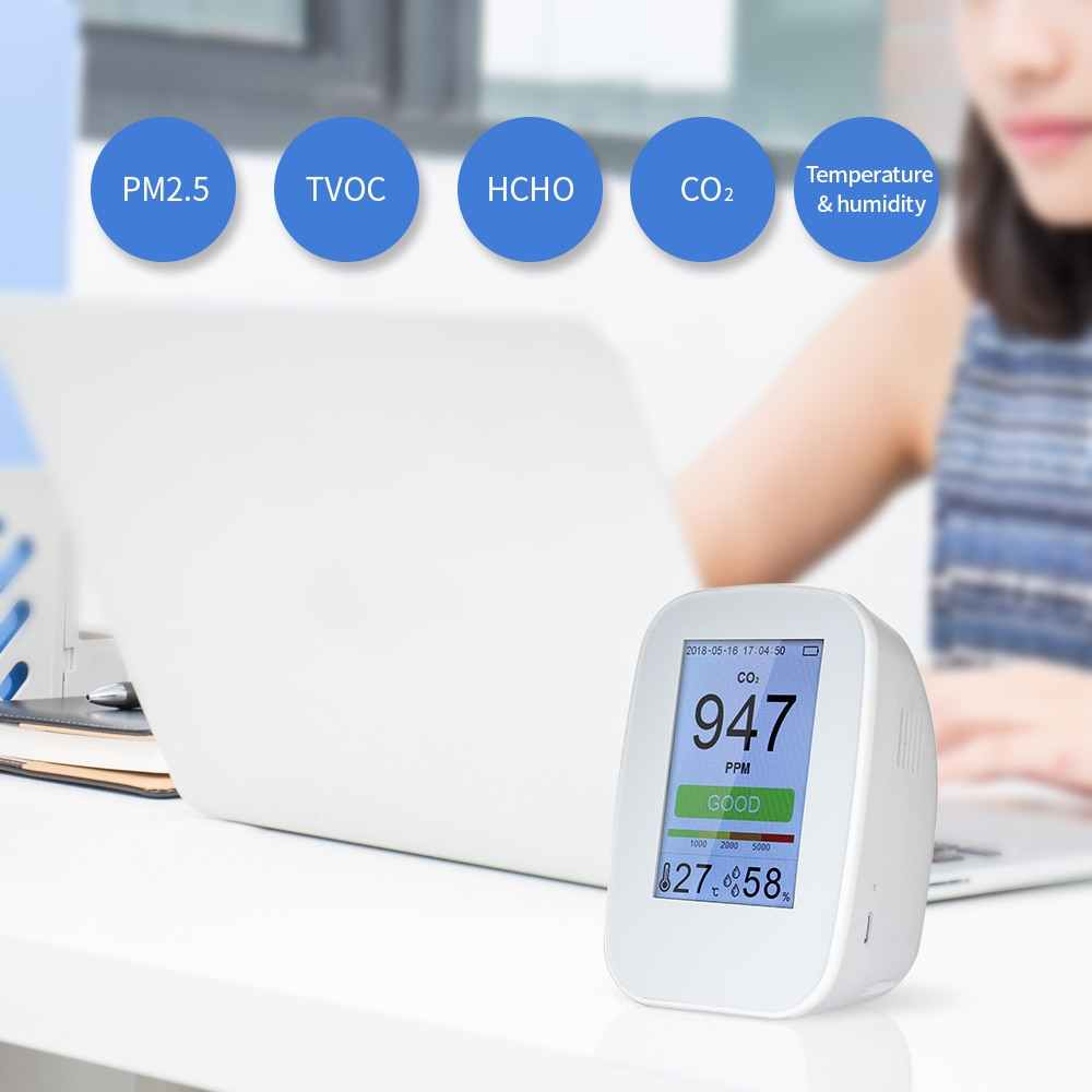 Draagbare Luchtkwaliteit Detector Digitale PM2.5 Gas Monitor LCD TVOC Tester Instrument Meter Air Analyzers met Oplaadbare Batterij