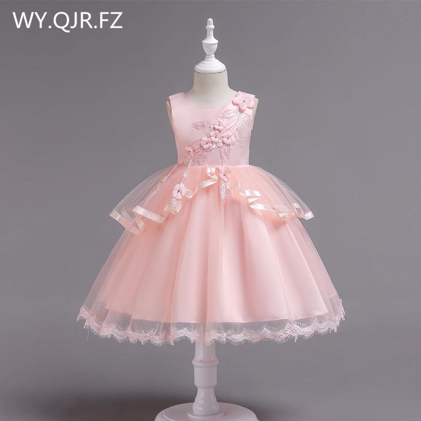 PTH-BH2#Pink   Flower     Girl     Dresses   plue size children irregular gauze princess wedding party prom Christmas performance   dress   2018