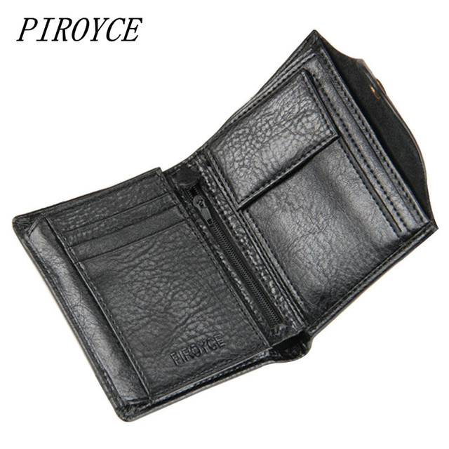 PIROYCE Genuine Leather Men Wallets with Coin Bag Hasp Mens Wallet Male Money Purses Wallets Multifunction Men Wallet