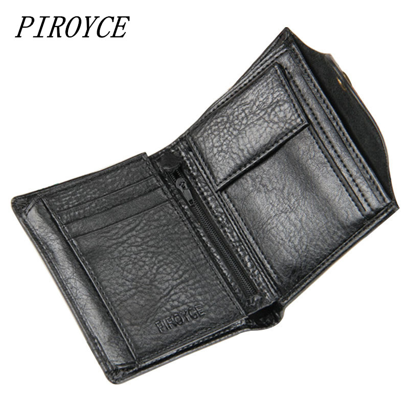 PIROYCE Genuine Leather Men Wallets with Coin Bag Hasp Mens