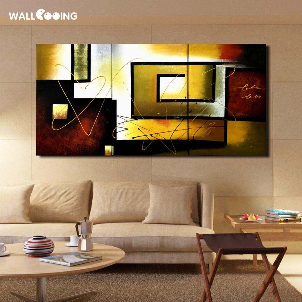 3 dalių rankomis dažytos drobės aliejiniai paveikslai - Namų dekoras - Nuotrauka 2