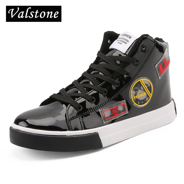 Valstone 2018 high top sneakers Men Gold fashion leather shoes silver  Spring high tops Male Black Vulcanized shoes plus sizes 46 50fb5c35b2f0