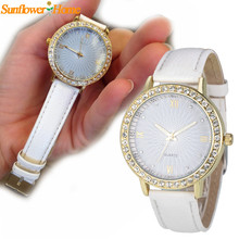 Newly Design Women Watch Luxury Rhinestone Watch Female PU Leather Wrist Watches Oct7