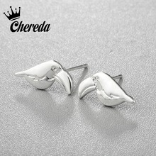 Chereda Woodpecker Stud Earrings Silver Gold Color Bird Earing Minimal Small Toucan Macaw Parrot Shaped Fine Women Jewelry