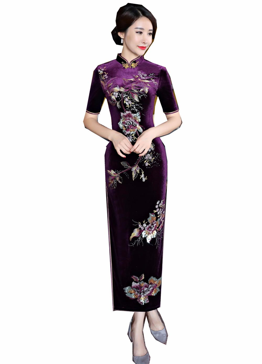Shanghai Story Autumn Velvet Qipao Flower Embroidery Chinese traditional Dress Oriental dress Short Sleeve long Cheongsam Dress