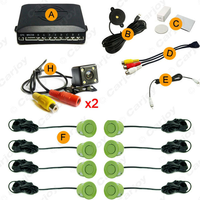 Car 10 colors 8-Sensor Parking Sensor with 2pcs Night Vision LED Camera Dual Visual Rearview Video Parking Radar System #CA938