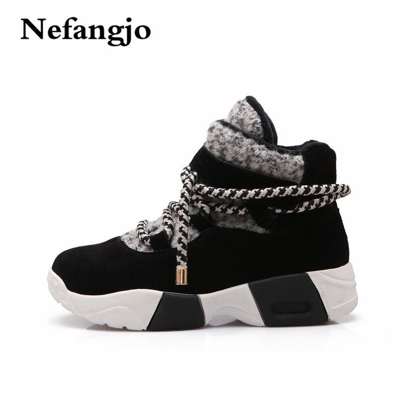 Nefangjo 2018 Woman Casual Shoes Winter Lace-Up Punk Creeper Shoes Short Plush Warm New European Patchwork Platform Flat Shoes