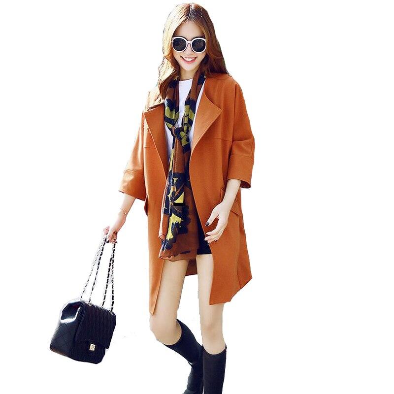 Noir Style Vêtements Long Col Femmes Manteau Pour Tranchée De Rabattu orange Britannique Femelle Manteaux Coupe vent gris uPkOXZi