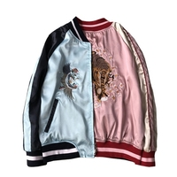 Double sided Satin Bomber Jacket Women Tiger Embroidery Casual Loose Jackets Boyfriend Style Zipper Outerwear Unisex Tops