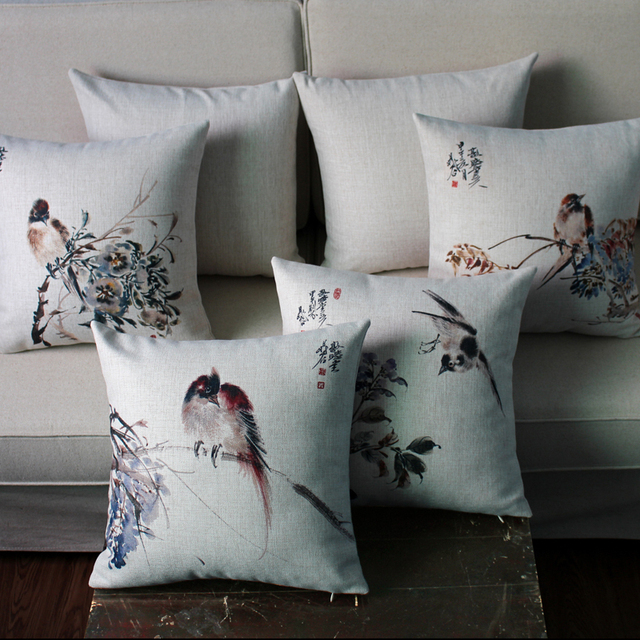 Chinese Style Birds Pillow Cover Cotton Linen Throw Pillow Covers