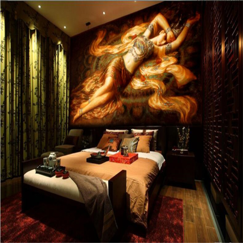 beibehang desktop wallpaper 3d murals Southeast Asian style wallpaper pattern painting of Flying maid photo wallpaper in Wallpapers from Home Improvement