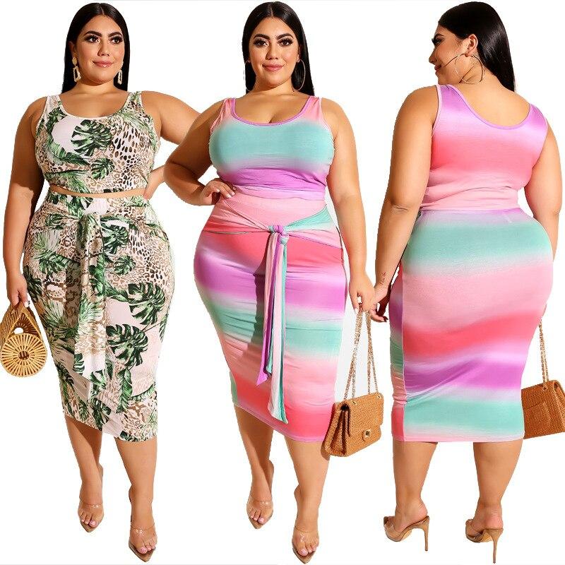 Plus Size Sets For Women 5xl 4xl XXXXL XXXXXL XXXL 3XL Two Piece Sets Summer Casual Bodycon Outfitss Vest Midi Skirt 2 Piece Set
