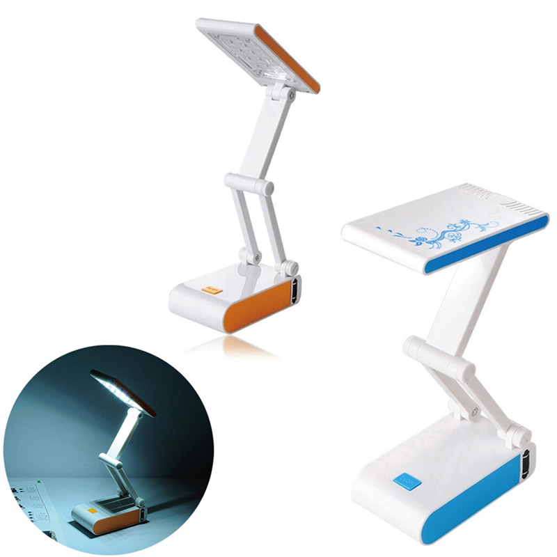 Foldable and Adjustable Eyecare Built in Rechargeable 400mAh Battery Mini Reading 14 LED Dimmable Desk Table
