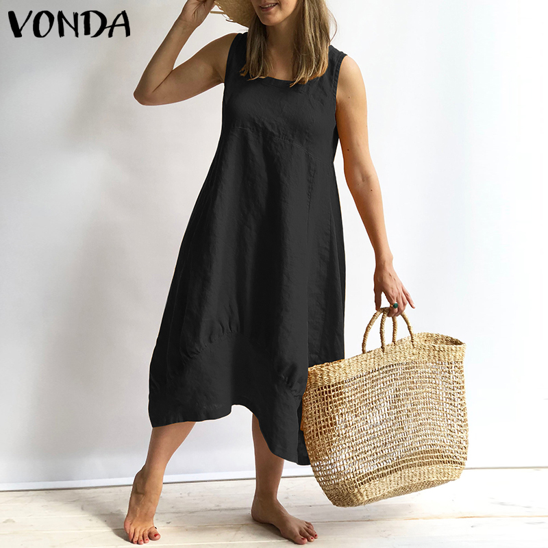 Learned Vonda Women Dress 2019 Summer Vintage Cotton V Neck Sleeveless Casual Loose Party Dresses Holiday Sexy Vestidos Plus Size S-5xl Women's Clothing