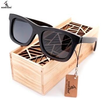 BOBO BIRD Original Wooden Men Sunglasses Casual Polarized Women Sun Glasses Black Framed With Gift Box gafas de sol mujer