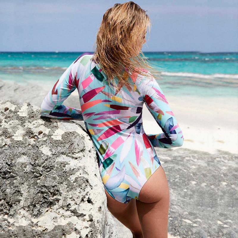 Цельный купальник с цветочным принтом, женская одежда для плавания, монокини с длинным рукавом, женский купальный костюм с принтом, боди для серфинга, пляжная одежда