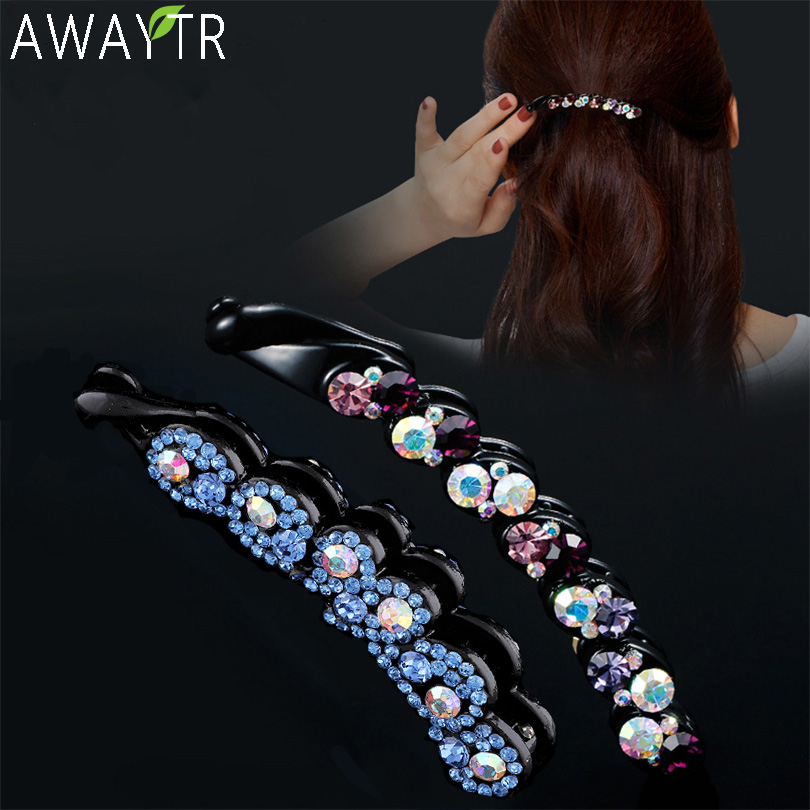 Fashion Ladies Banana Hair Clip Flower Multicolor Crystal   Headwear   Women Hairband Hair Claw Clip Women Hairpin Hair Accsessories