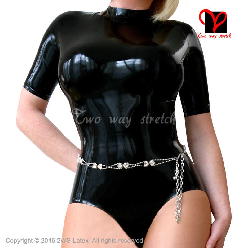 Sexy Black Latex swimsuit with zip at back half Sleeves High collar leotard Without Steel Belt Rubber body suit jumsuit   TC-041