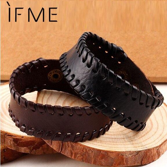 Fashion Punk Charm Wrap Leather Bracelets & Bangles Braided Rope Wristband Men B