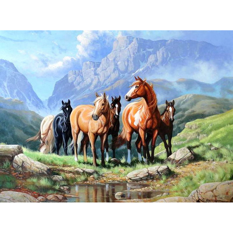 Full Square / Round Drill Bit 5D DIY Diamond Painting Horse on the Grass 3D Embroidery Cross Stitch Mosaic Rhinestone Decor Gi