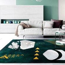 Modern moda soyut Koyu yeşil gri altın Geometrik paspas yatak odası halısı oturma odası kaymaz başucu halısı peluş zemin mat