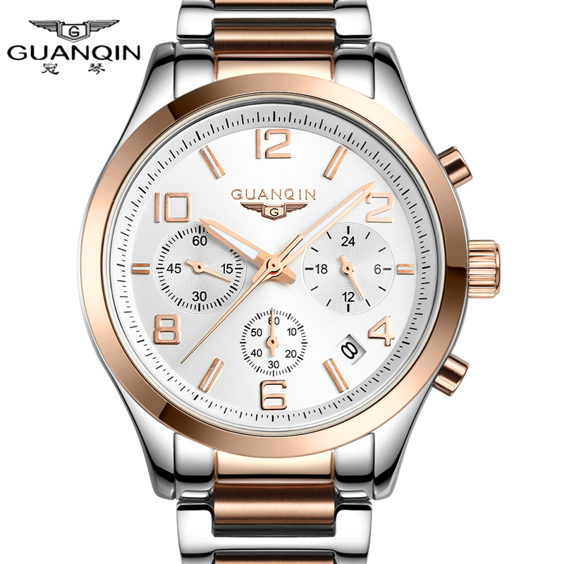 Watch men quartz top Luxury Brand GUANQIN watch stainless steel watches male casual watch waterproof luminous wristwatches man onlyou brand luxury fashion watches women men quartz watch high quality stainless steel wristwatches ladies dress watch 8892