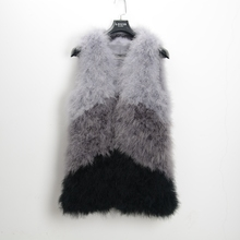 S1425 New Mixed color Genuine fur vest Real Ostrich Feather Fur gilet Women's fashion Retail/Wholesale