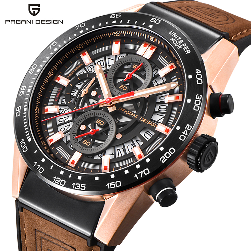 PAGANI DESIGN Men Military Wristwatch Genuine Leather Band Calendar Chronograph Quartz Sport Watches Luxury Waterproof Clock scientific and technological sense men watches waterproof calendar chronograph fashion quartz watches luxury wristwatch