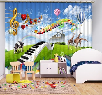 New Home Decoration 3D Kids Room Curtain cartoon music Cheer Curtains For Bedroom Living room Window Curtain