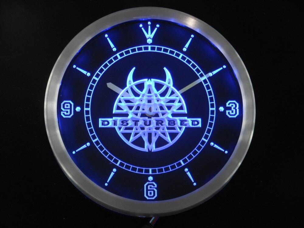 nc0147 Disturbed Rock n Roll Bar Pub Neon Sign LED Wall Clock