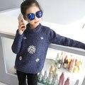Envío Gratis 2017 Primavera Del Año Nuevo girls fashio suéter niños suéter suéter de cuello Redondo Brillante perlas de adorno