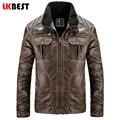 Lkbest 2017 retro moda inverno jaqueta de couro do punk dos homens marca jaqueta de couro pu motocicleta jaqueta plus size casaco (PY19)