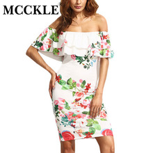 MCCKLE 2017 Elegant Woman Short Sleeve Multicolor Floral Print Off The Shoulder Ruffle Sheath Dresses summer beach dress
