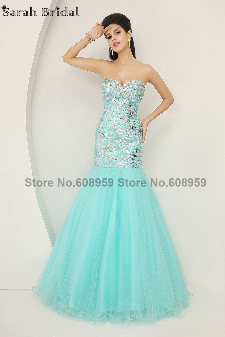 2017 Long In Stock Sexy Blue Mermaid Evening Dresses Fashion ...