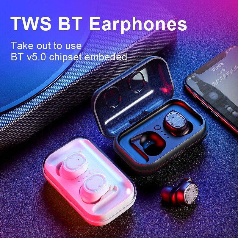 Fones de ouvido Bluetooth 5.0 TWS SANLEPUS mini fone de ouvido invisível 3D HiFi stereo headset sem fio com banco de potência de carregamento da caixa